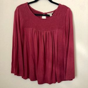 Lucky Brand Red Peasant Blouse Small
